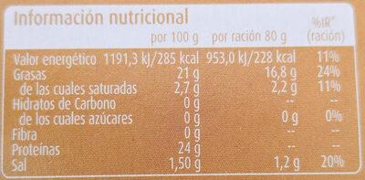 Caballa del Sur en Aceite de Girasol - Información nutricional - es
