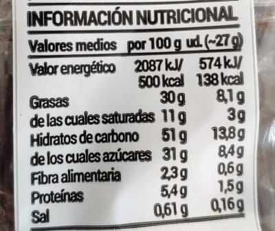 Bocaditos al cacao - Nutrition facts - es