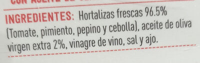 Gazpacho Tradicional - Ingredients