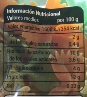 Farfalle con vegetales - Información nutricional