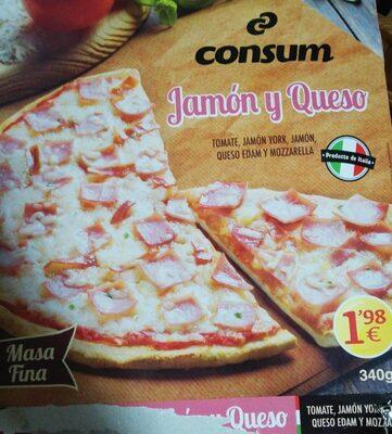 Pizza jamón York y queso