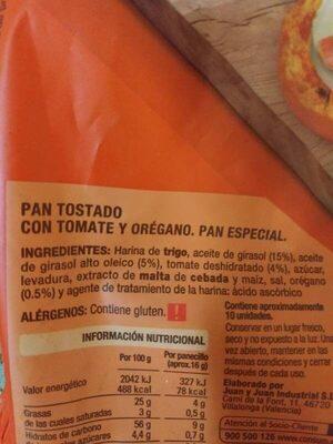 Tomato y orégano - Ingredients - es