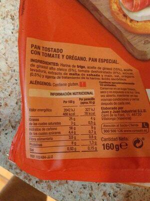 Tomato y orégano - Informació nutricional - es