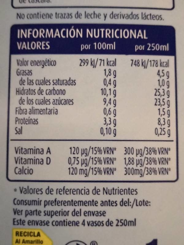 Soja chocolate - Nutrition facts - es