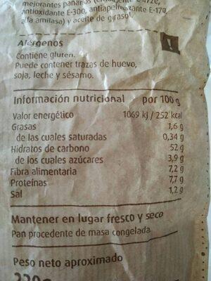 Pan de pueblo - Voedingswaarden