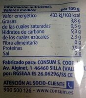 Palitos de surumi - Nutrition facts
