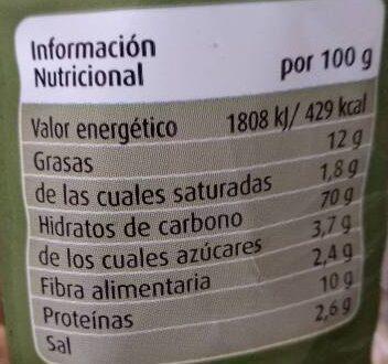 Regañás con AOVE estilo tradicional - Información nutricional - es