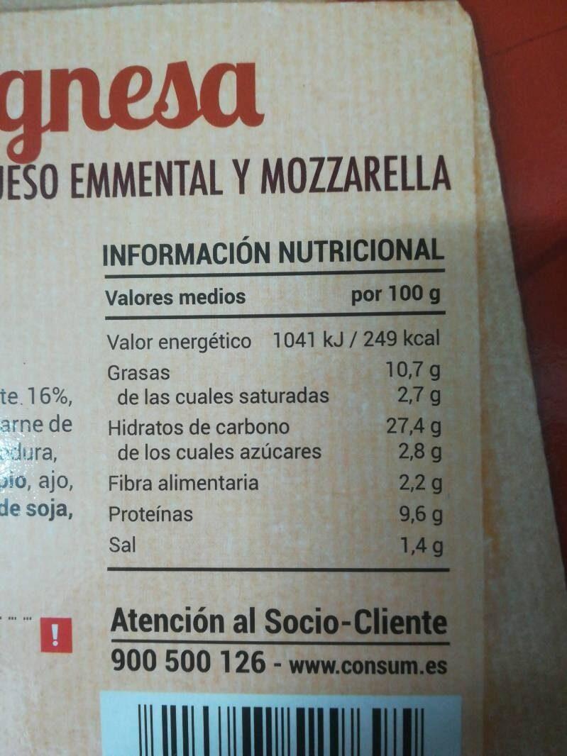 Pizza boloñesa - Nutrition facts