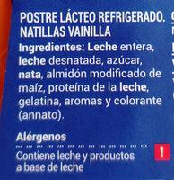 Natillas vainilla - Ingrediënten - es