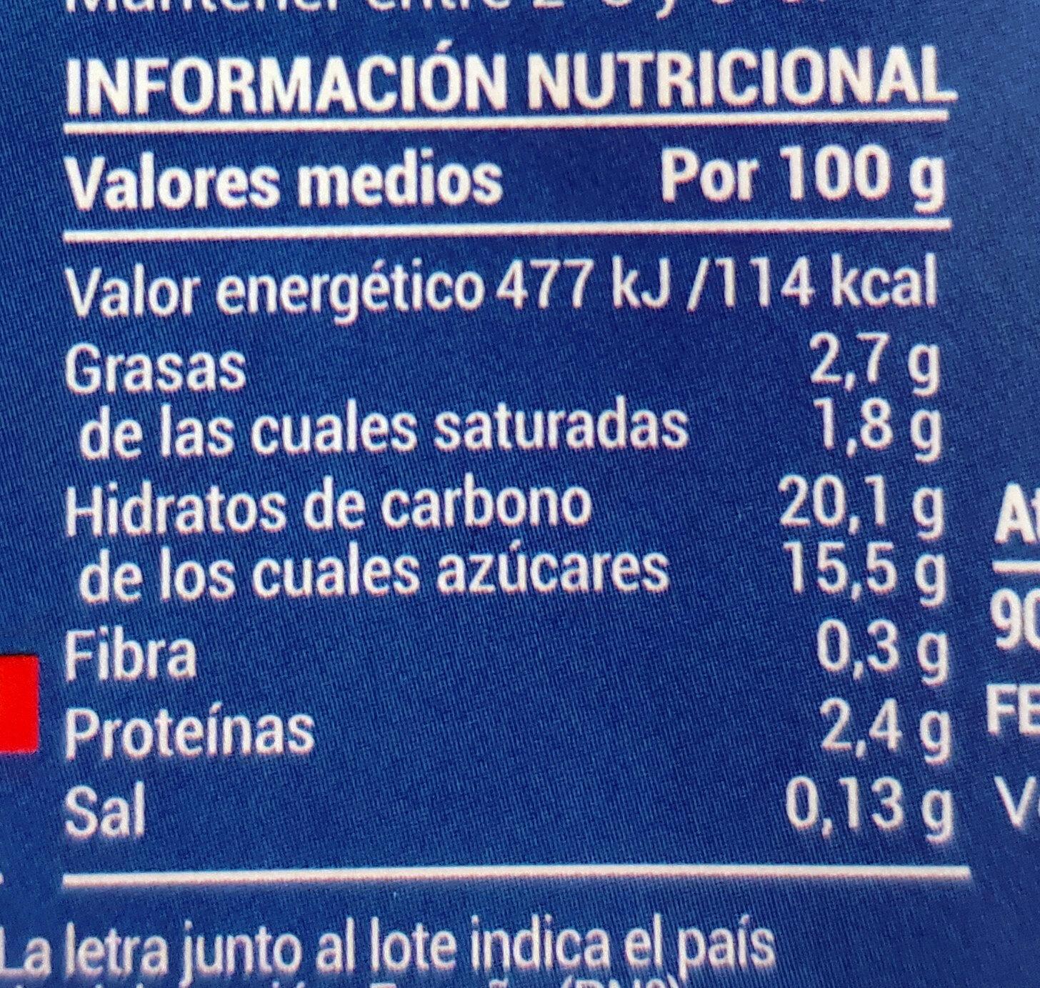Natillas vainilla - Voedingswaarden - es