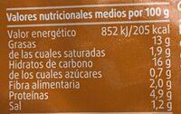 Tortilla de patata - Informació nutricional