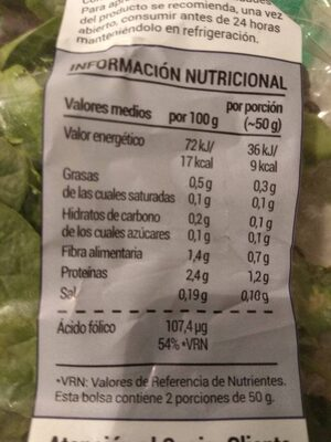 Delicias de Brotes - Informations nutritionnelles - es