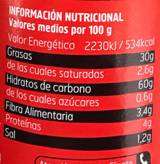 Chips Originales - Información nutricional