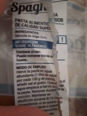 Spaghetti consum - Ingredientes