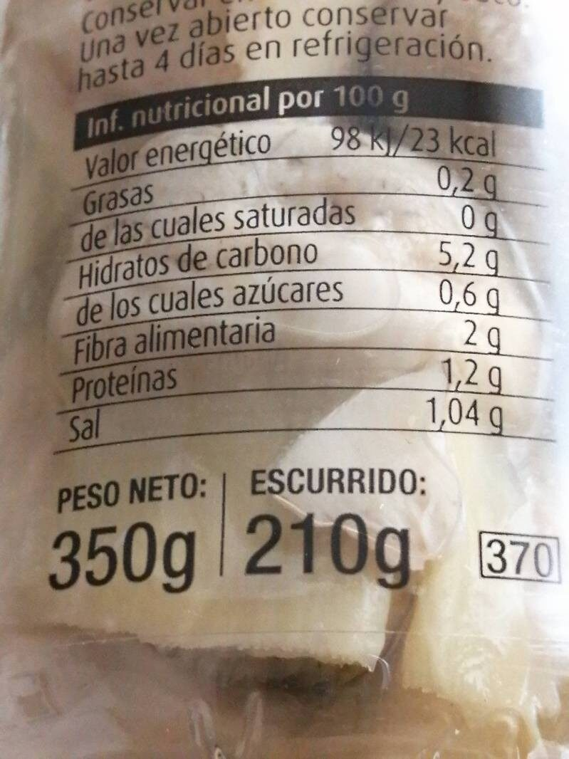 Corazones de alcachofa - Nutrition facts