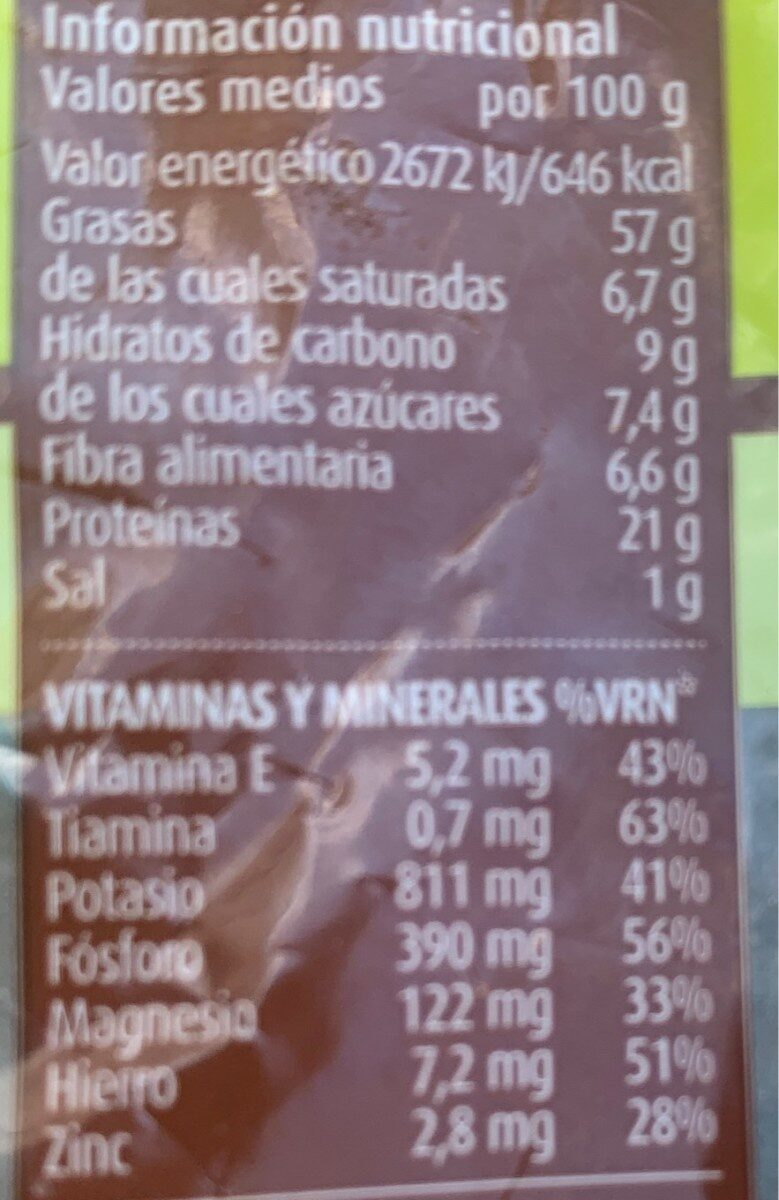 Pistachos tostados sal consum - Información nutricional - es