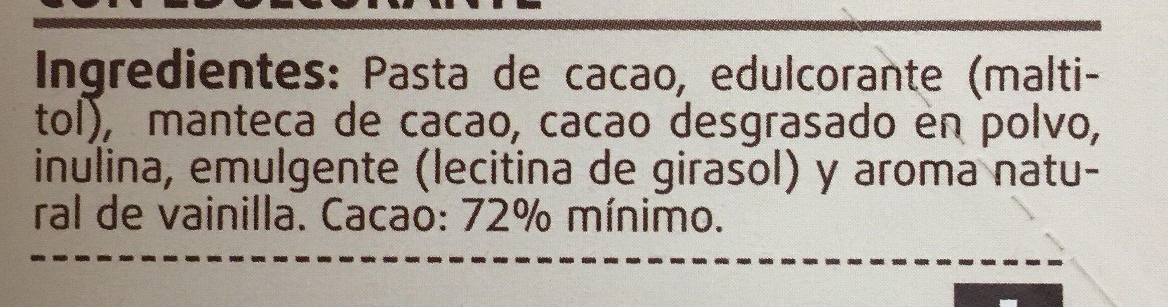 Chocolate negro 72% sin azucar - Ingredients - es