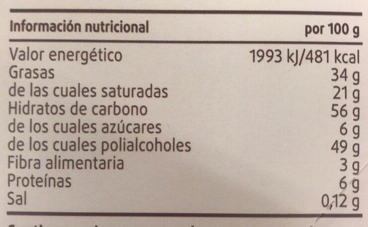 Chocolate con leche sin azucares anadidos - Información nutricional - es