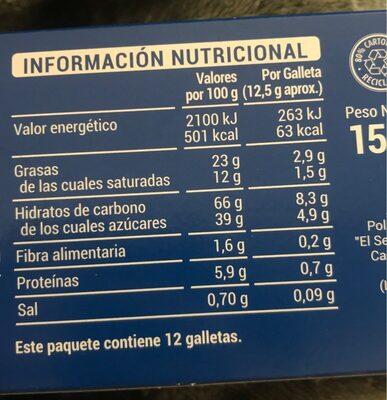 Galletas con chocolate con leche - Información nutricional - es