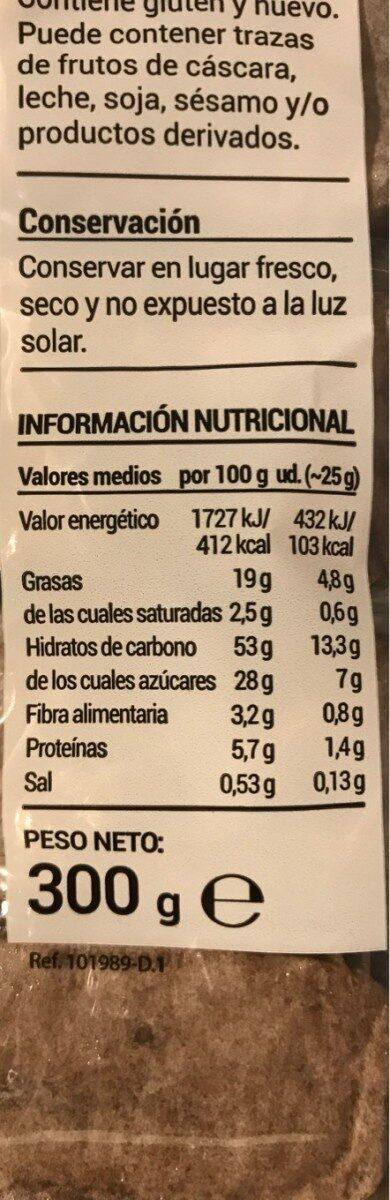 Valencianas al cacao - Informació nutricional