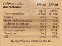 Bebida de avena - Informació nutricional - es