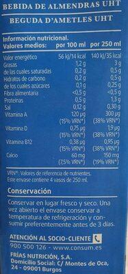 Bebida de almendras sin azúcares - Informations nutritionnelles - es