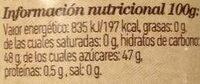 Mermelada fresa - Información nutricional