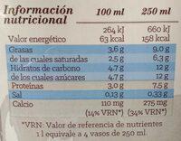 Leche entera eco - Información nutricional