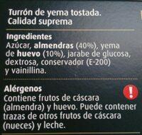 Turrón yema tostada - Ingredients - es