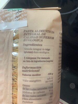 Fideos integrales cabellin - Ingredients