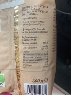 Fideos integrales cabellin - Informació nutricional