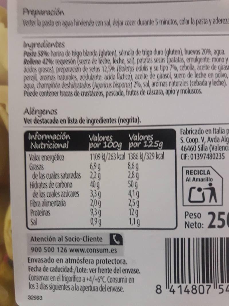 Tortellini Consum Setas - Información nutricional - es