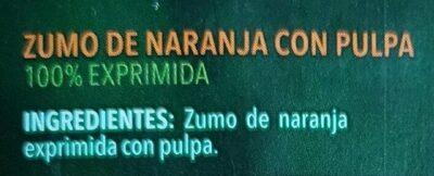 Zumo de naranja exprimida - Ingredientes - es