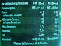 Zumo de naranja exprimida - Información nutricional - es