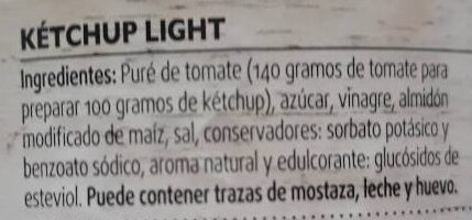 Ketchup Light - Ingredientes - es
