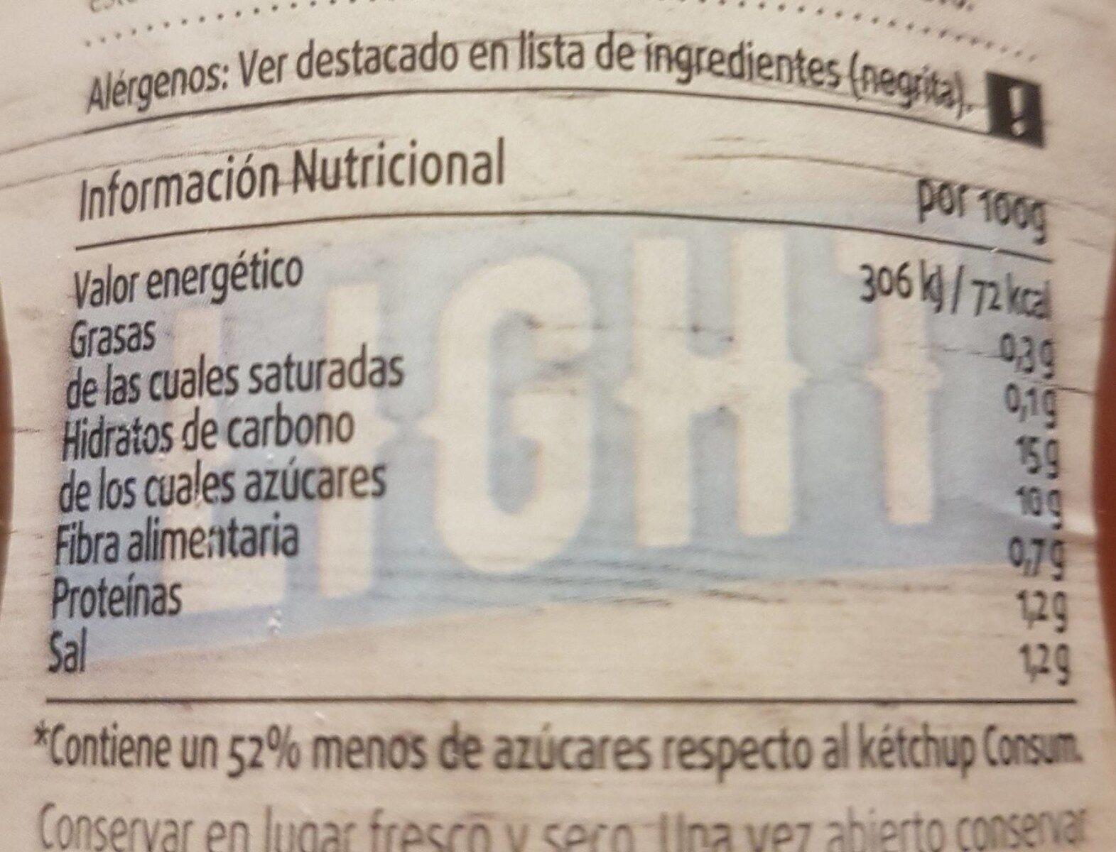Ketchup Light - Información nutricional - es