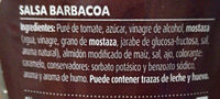 salsa BARBACOA - Ingredients