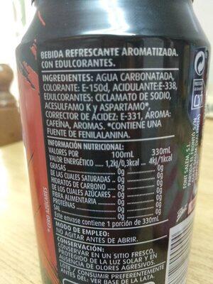 Cola cero - Ingredientes - es