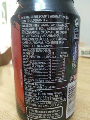 Cola cero - Información nutricional - es