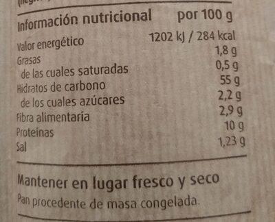 Barra de Pan Masa Madre - Información nutricional - es