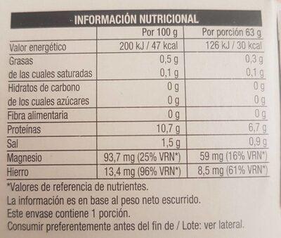 Berberechos al natural - Información nutricional
