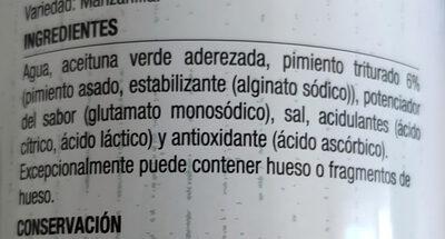Aceitunas rellenas de pimiento asado - Ingredients - es
