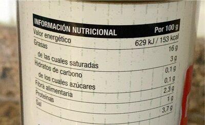 Aceitunas rellenas de pimiento asado - Informació nutricional - es