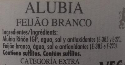 Alubia Riñón IGP de La Bañeza-León - Ingredients