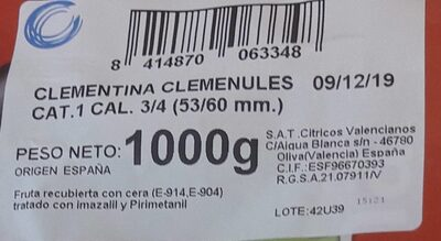 clementina clemenules cat.1 cal.3/4(53/60 MM.) - Información nutricional - es