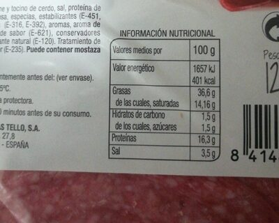 Salami extra - Nutrition facts