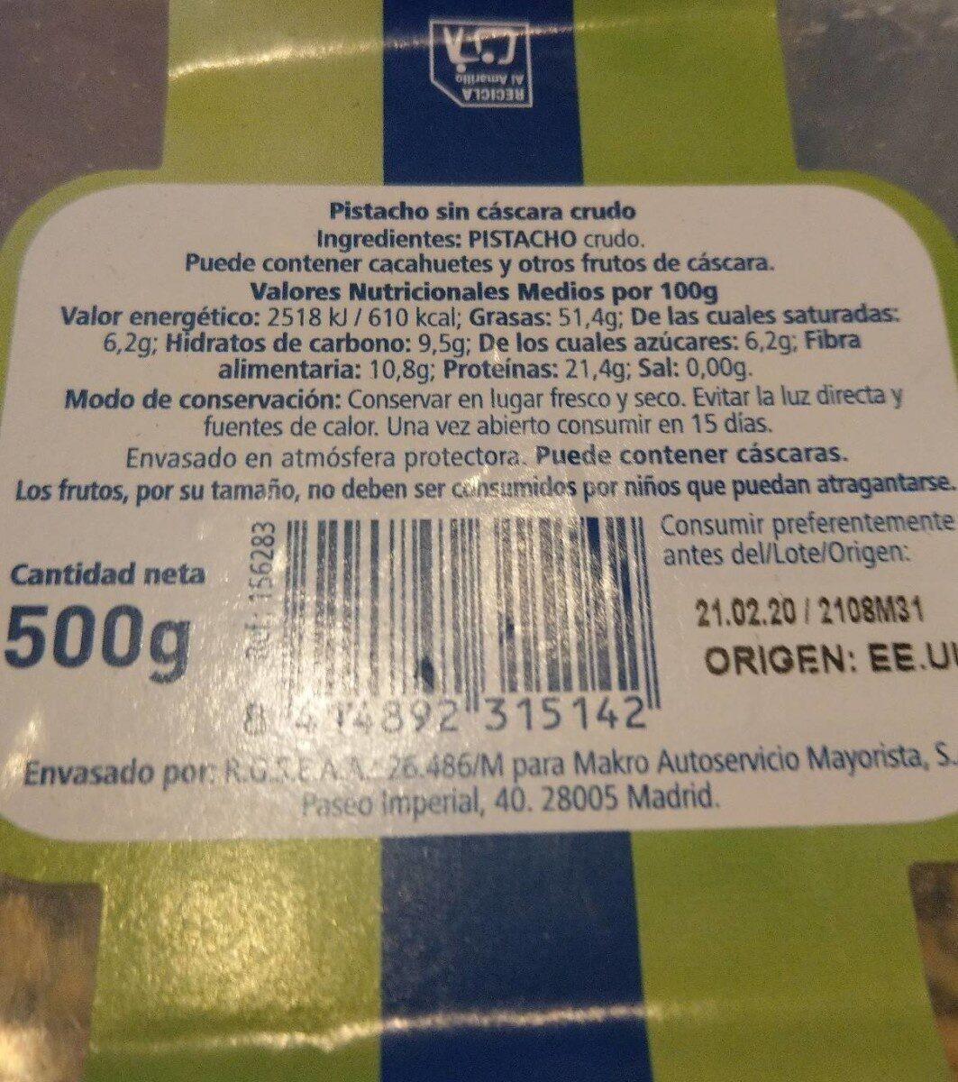 Pistacho Pelado Crudo - Información nutricional - es