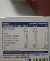 Ventresca atun - Nutrition facts