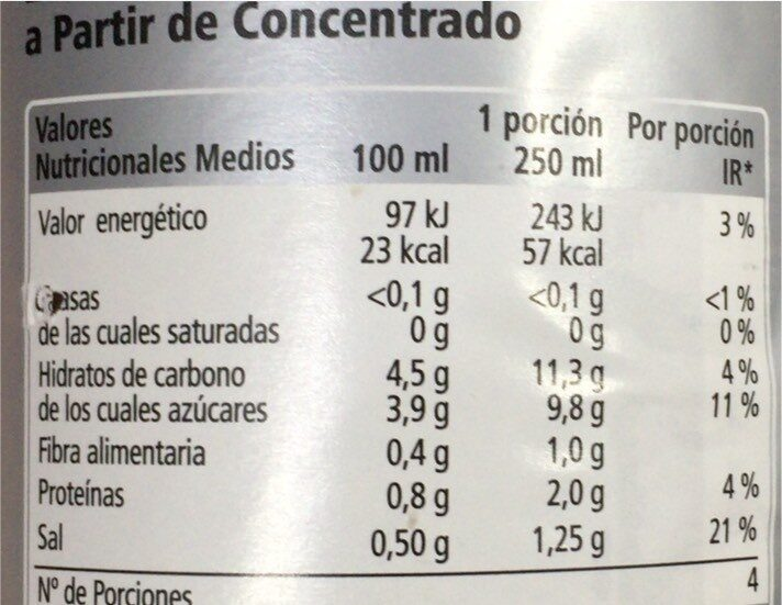 Zumo tomate - Nutrition facts - es