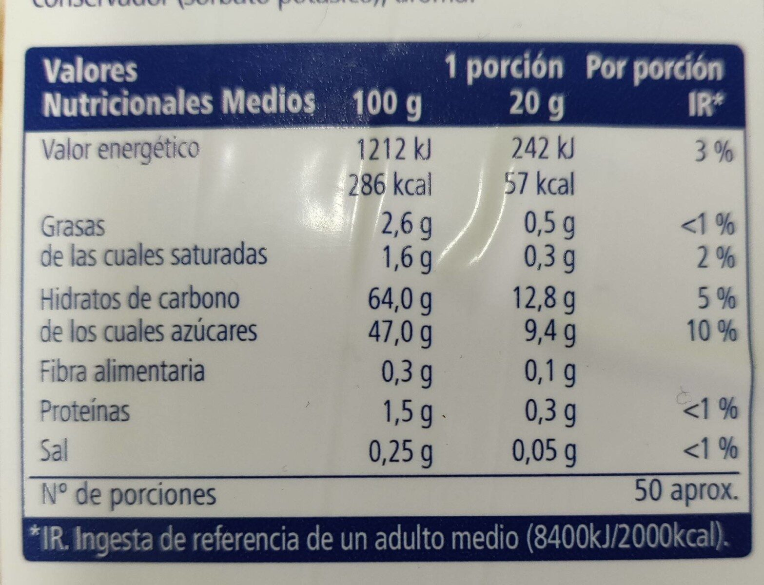 Sirope sabor chocolate blanco - Nutrition facts